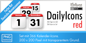 Kalender-Icons | Stilkunst Icon-Set DailyIcons red